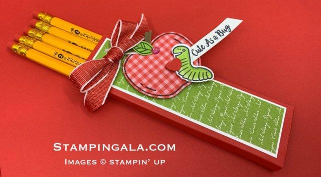 Pencil holder using Harvest Hellos & Wiggle Worm stamp sets