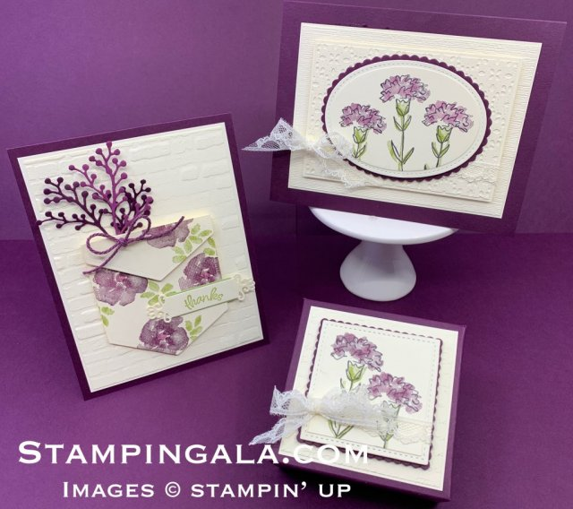 Inspiring Iris stamp set, thank you card & thinking of you card, gift box