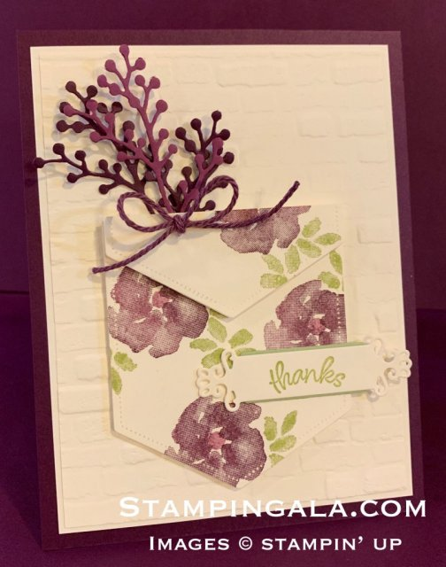Thank you card featuring the Inspiring Iris stamp set & Brick & Mortar Embossing Folder.