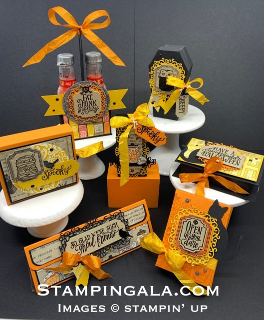 Halloween treat holders featuring Stampin' Up's Spooktacular Bundle, Spooktacular Bash Stamp Set, Ornate Frames Dies & Monster Bash Designer Series Paper