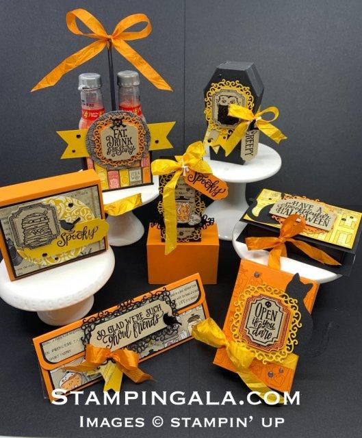 Halloween treat holders featuring Stampin' Up's Spooktacular Bundle, Spooktacular Bash Stamp Set, Ornate Frames Dies & Monster Bash Designer Series Paper