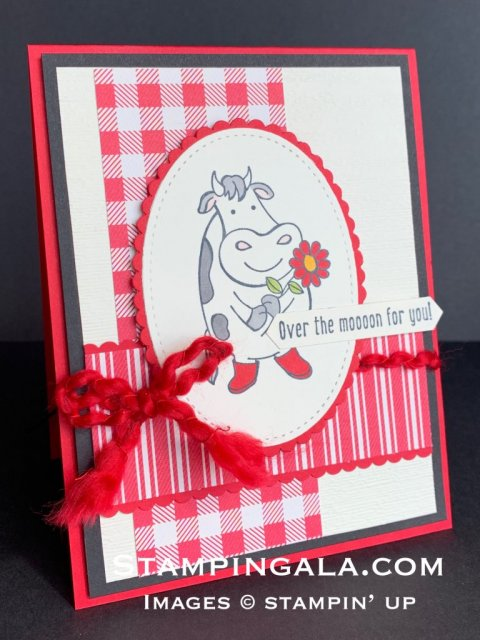Greeting card,  Over the Moon stamp set, Toile Tidings DSP, Facebook Live.