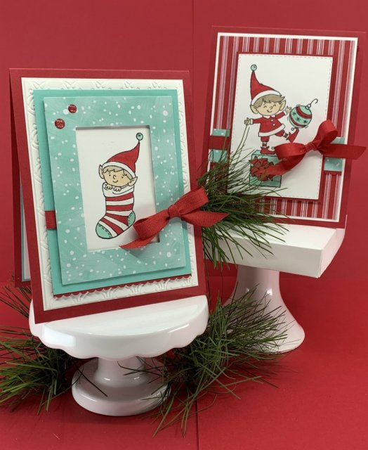 Christmas cards, #Elfie stamp set, Let it Snow DSP