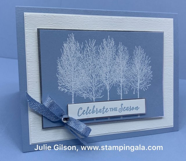 Winter Woods Christmas Card, heat embossed with White Embossing Powder for Facebook Live