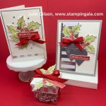 Christmas Gleaming Trio, Christmas Cards, Treat Boxes, Note Cards, water coloring