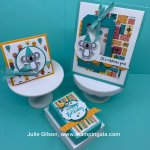 Shaker card, 3 X 3 card, & treat holder made with Stampin
