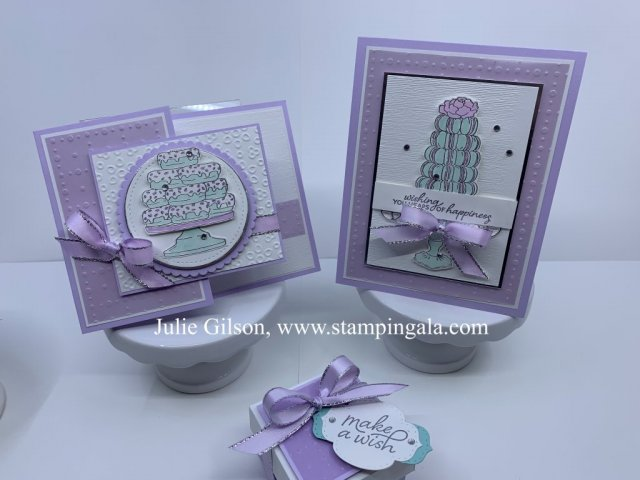 Birthday Cards & box using the Birthday Goodness stamp set. #Stampin' Up, #Stampin' Gala, #Sale-a-bration, #3D