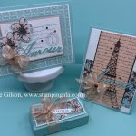 Greeting cards and treat holder using the Parisian Beauty Bundle. #Stampin