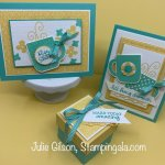 Greeting cards & treat holder/box for Facebook Live using the Rise & Shine Stamp Set. #SAB, #Stampin