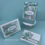 Create beautiful cards and a bath bomb holder using the beautiful Flowering Foils DSP . #Stampin
