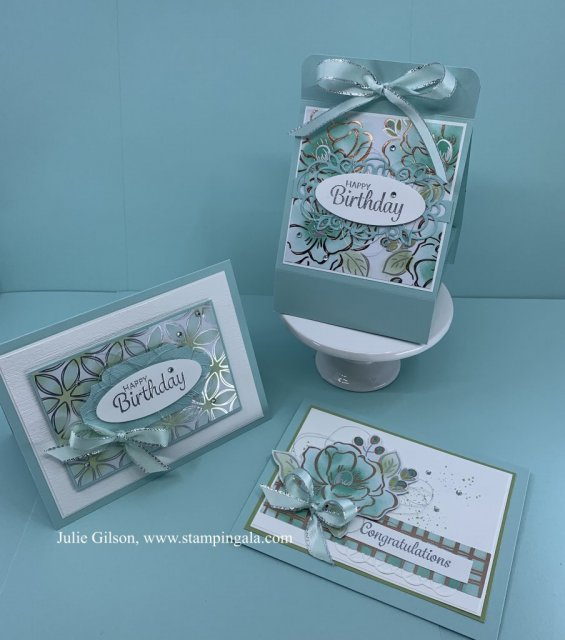Create beautiful cards and a bath bomb holder using the beautiful Flowering Foils DSP . #Stampin' Up, #Stampin' Gala, #Flowering Foils, #3D