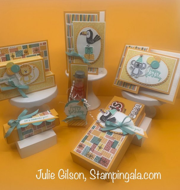 Bonanza Buddies Class to Go, includes six projects, three cards and three treat holders. #Stampin' Up, #Stampin Gala, #Birthday Bonanza