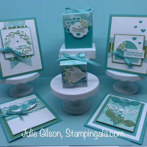 Class to Go featuring the Honey Bee Bundle. Class includes 4 cards and 2 treat boxes. #Stampin' Up, #Stampin' Gala