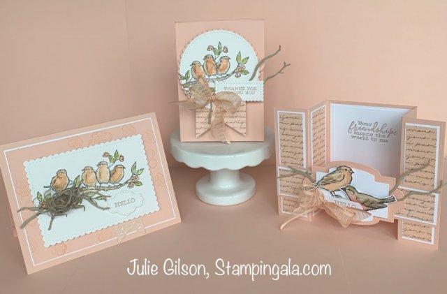 Greeting cards and a 3D treat holder created with the Free as a Bird stamp set. #Stampin' Up, #Stampin' Gala, #water coloring, #Bird Ballad DSP, # Fun Fold Cards