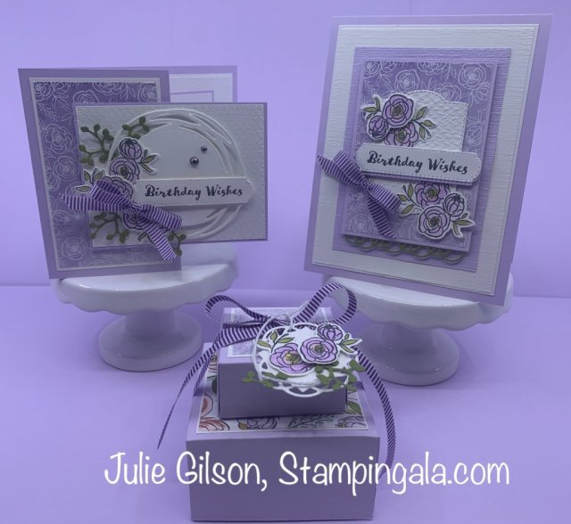 Birthday cards & treat boxes created with the Dressed to Impress bundle by Stampin' Up. #Stampin' Gala, #Julie Gilson, #3D, #Fun Fold Cards
