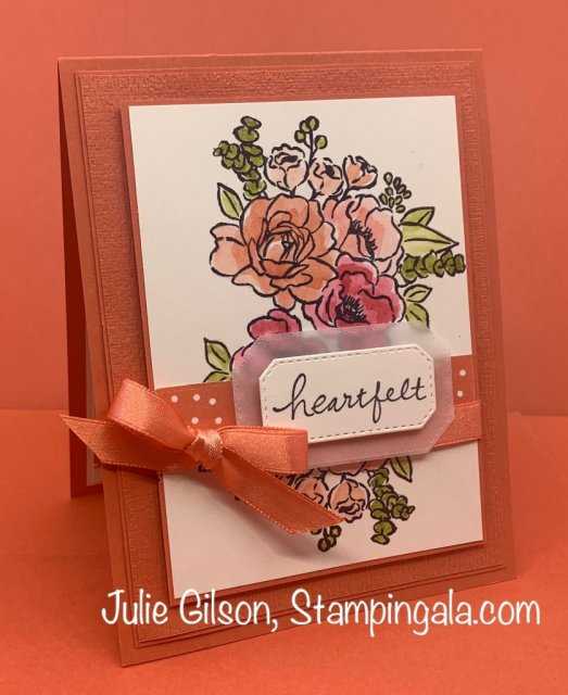 Greeting cards & Tea Bag holder using Stampin' Up's Jar of Flowers stamp set. #Stampin' Gala, #Julie Gilson, #Tea Bag Holder, #Water Color, #Thank You