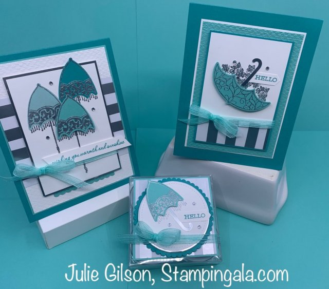 Handmade greeting cards created with the Pretty Parasol stamp set. #Stampin' Gala, #Hostess Gift, #Gift Boxes, #Shower Favor