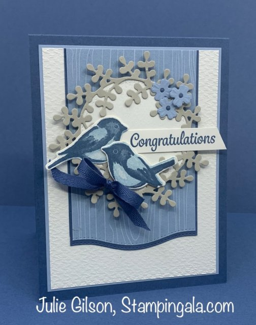 Greeting card using the Birds & Branches stamp set and the Wreath Builder Dies. #Stampin' Up, #Stampin' Gala, #Wedding Card, #Congratulations Card