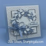 Christmas card created with the Arrange a Wreath Bundle. #Stampin