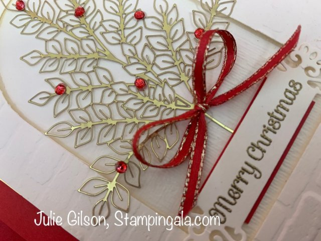 Christmas Card created with the Forever Gold Laser-Cut Specialty Paper & the Itty Bitty Christmas Stamp Set. #Stampin' Up, #Stampin' Gala, #Handmade Cards, #Julie Gilson